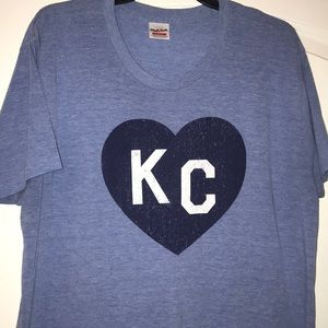 Vintage Blue KC Heart shirt, size large